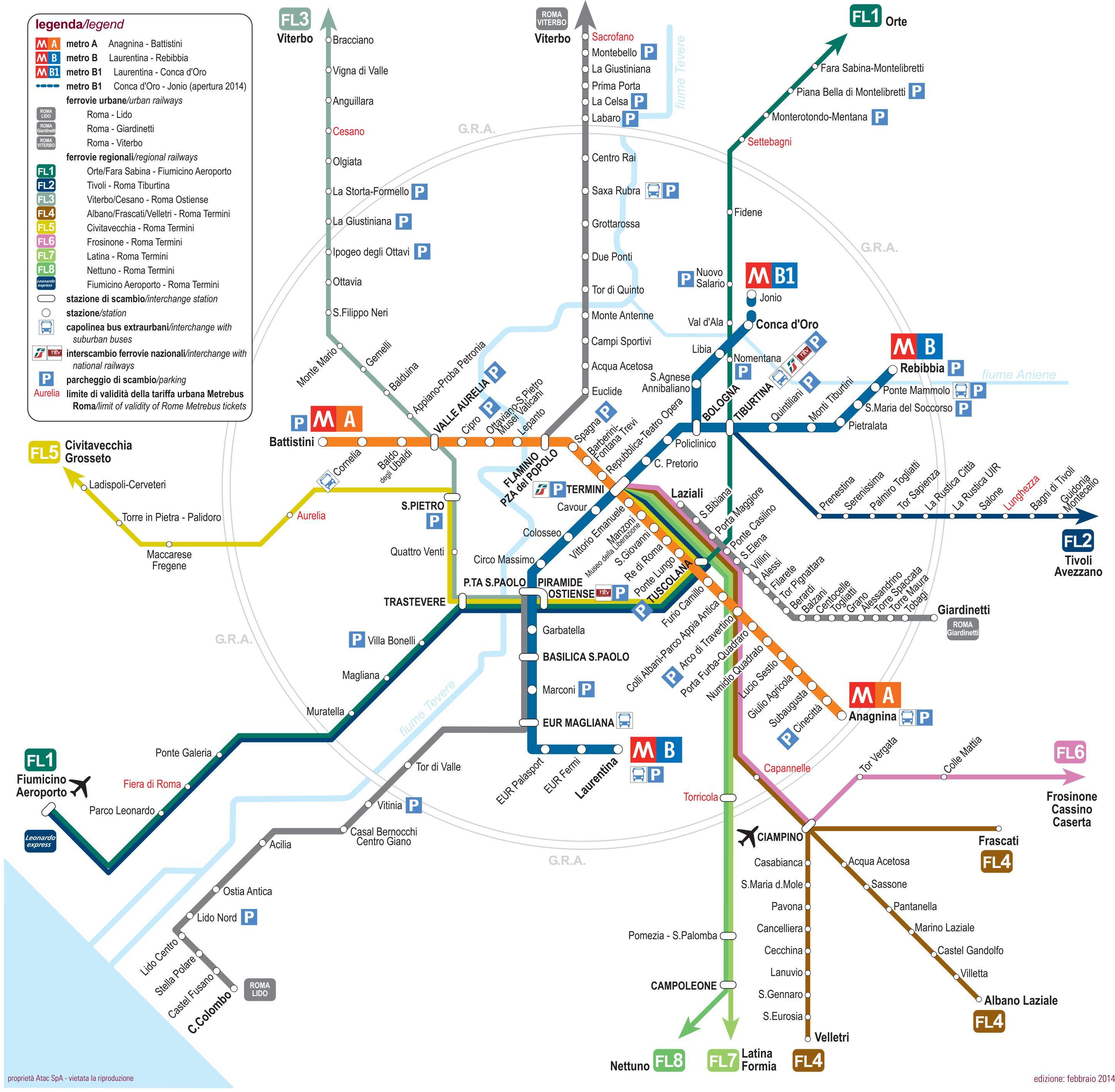 Rooman Liikenne Kartta Rooma Kauttakulku Kartta Lazio Italia
