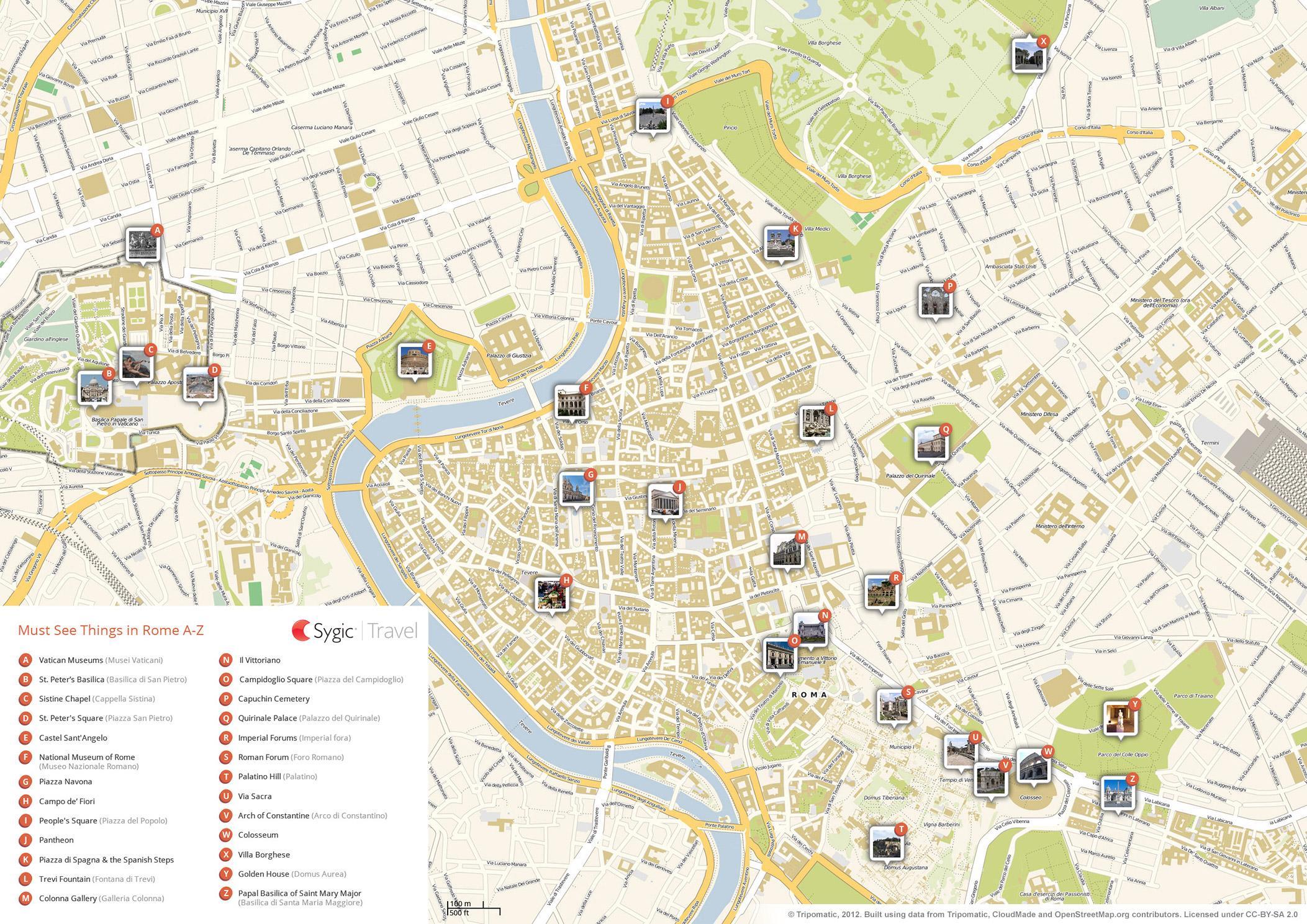 Rooman Nahtavyydet Kartta Rooma Italia Kartta Nahtavyyksia