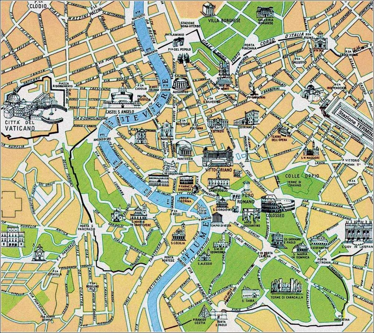 Rooman Historialliset Nahtavyydet Kartta Historiallinen Kartta