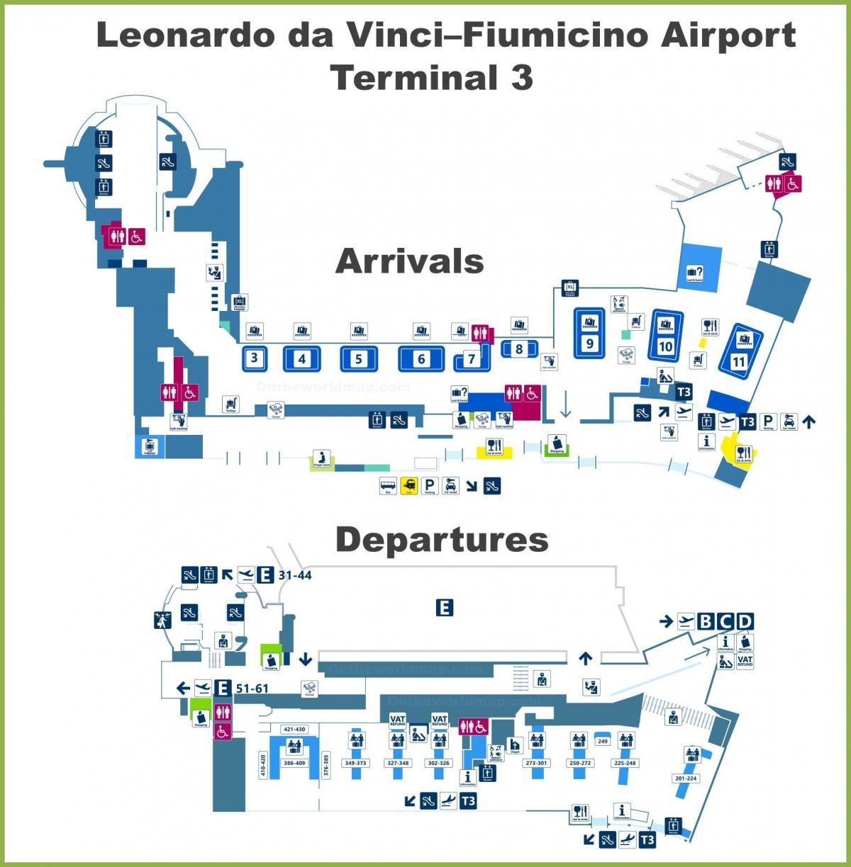 Rooman Lentokentta Terminaali 3 Kartta Fco Lentokentta Kartta